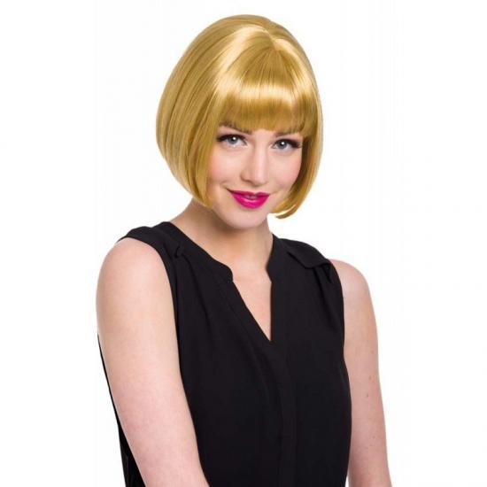 Korte damespruik natuurlijk blond