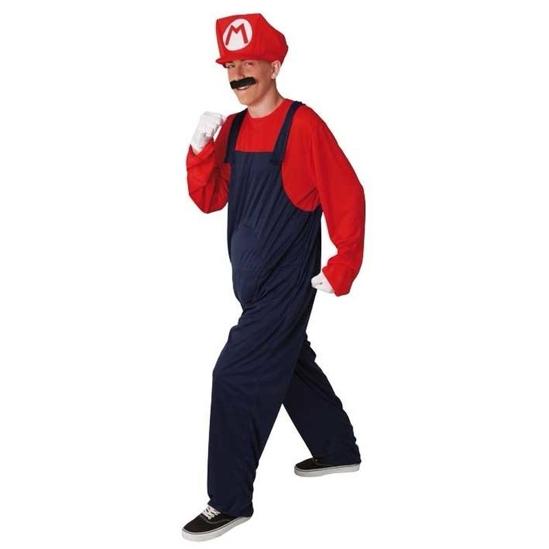 Loodgieter kostuum rood. volwassenen kostuum loodgieter mario in de kleur rood. dit kostuum is inclusief ...