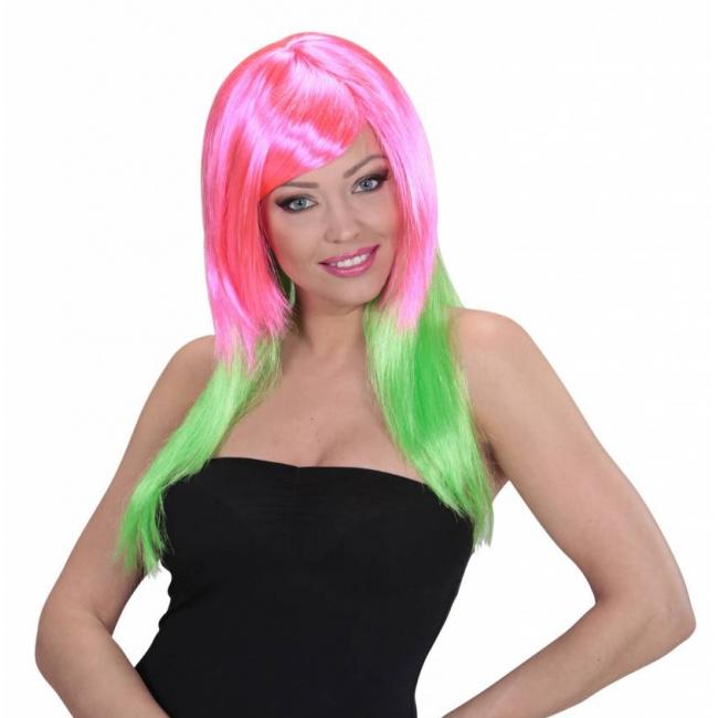 Image of Lange damespruik roze en groen haar
