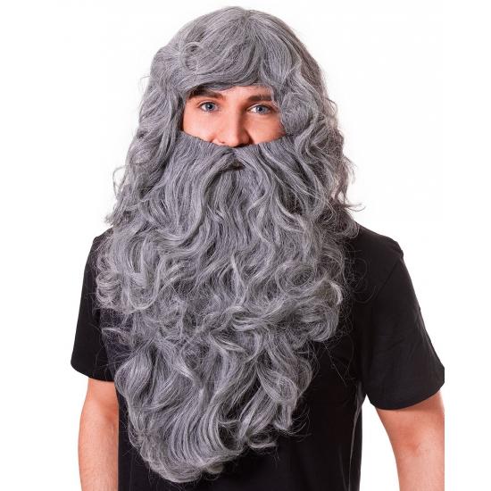 Image of Lange grijze pruik en baard