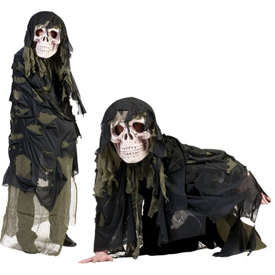 Legergroen doodshoofd spook kostuum voor volwassenen. doodshoofd masker met een voddencape in het legergroen. ...