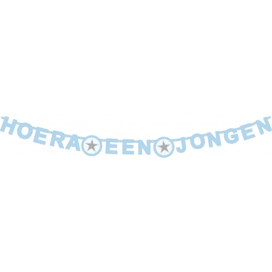 Image of Letterslinger ster hoera een jongen 175 x 11 cm