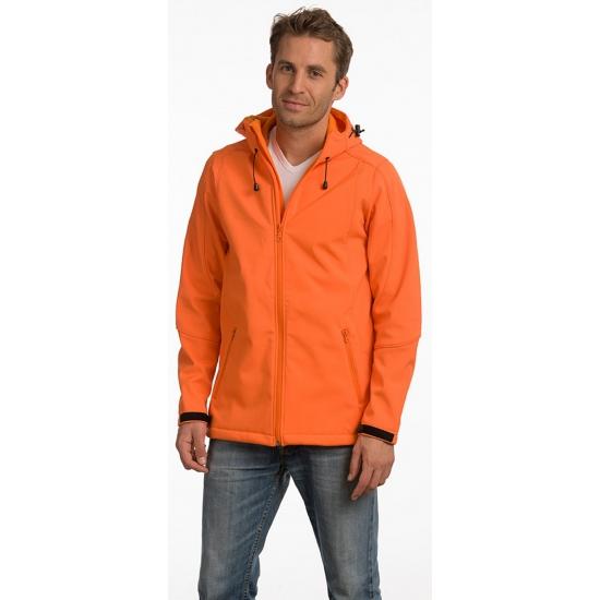 Image of Licht gevoerde herenjas met capuchon oranje