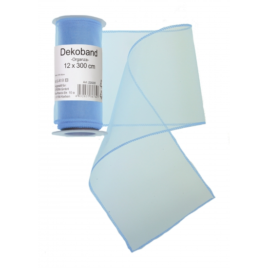 Image of Lichtblauwe organza tule decoratie stof 12 x 300 cm