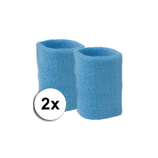 Image of Lichtblauwe zweetbandjes pols