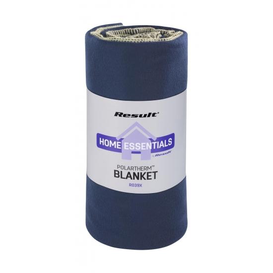 Image of Luxe navy blauwe fleece deken / plaid