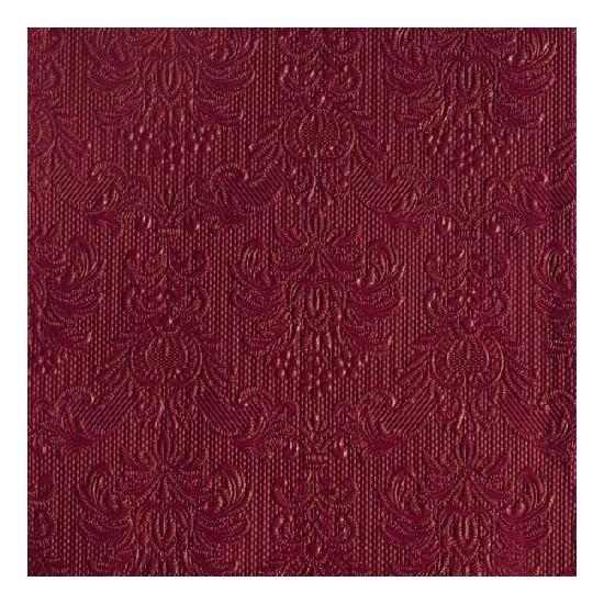Image of Luxe servetten barok patroon bordeaux rood 3-laags 15 stuks