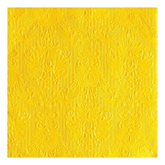 Image of Luxe servetten barok patroon geel 3-laags 15 stuks