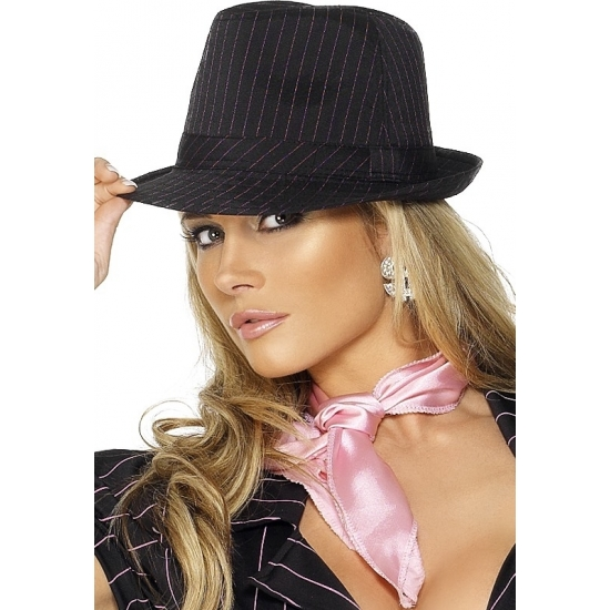 Image of Maffia hoeden zwart met roze