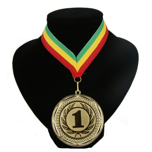 Medaille aan halslint groen geel rood
