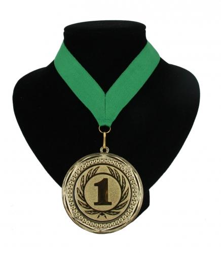 Medaille aan halslint groen