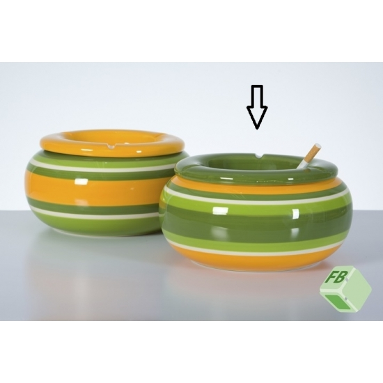 Mega asbak groen/geel 23 cm