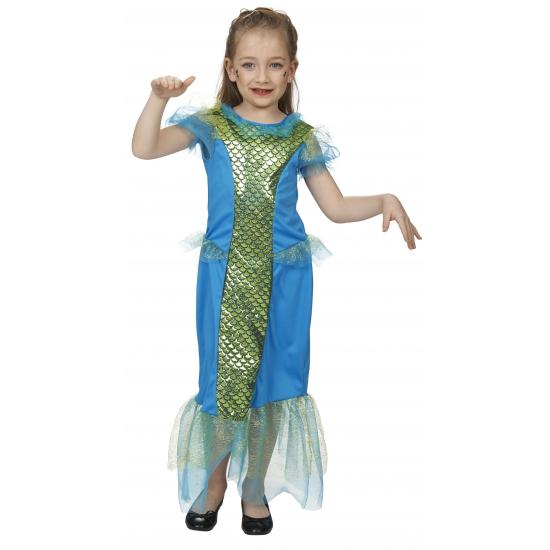 Image of Meisjes zeemeermin jurk blauw