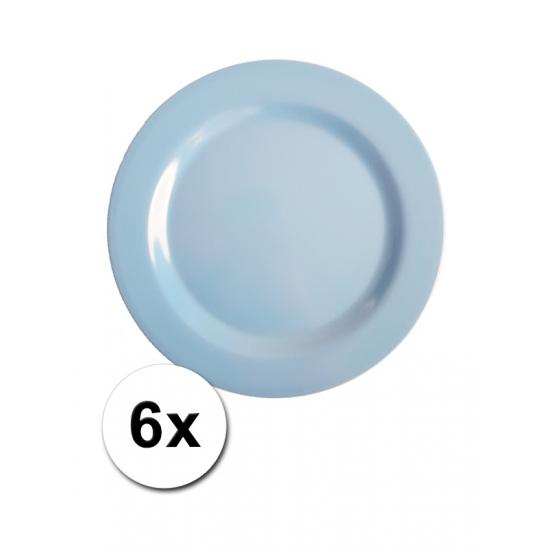 Image of Melamine camping bordjes blauw 6 stuks 20 cm