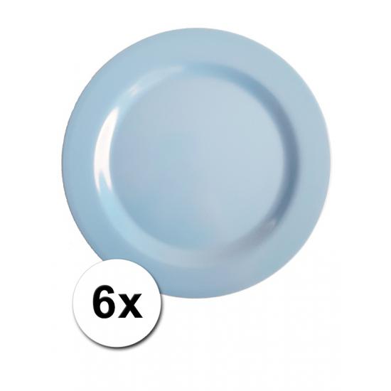 Image of Melamine camping bordjes blauw 6 stuks 25 cm