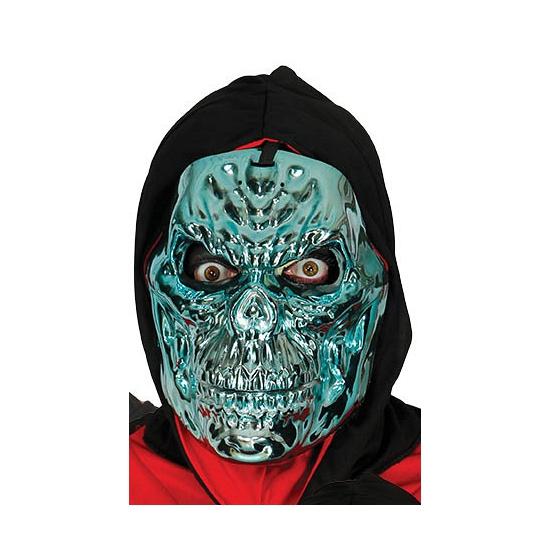 Image of Metallic blauwe skeletten masker voor volwassenen