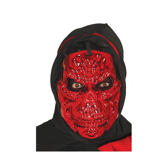 Image of Metallic rode skeletten masker voor volwassenen