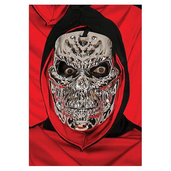 Image of Metallic zilveren skeletten masker voor volwassenen