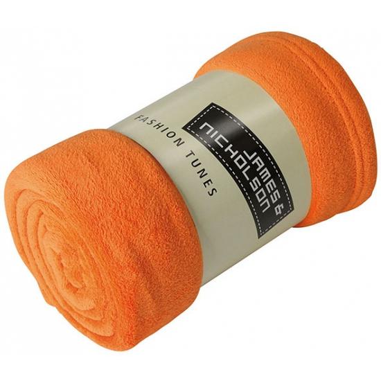 Image of Microvezel fleece deken oranje