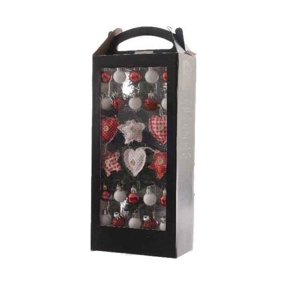 Image of Mini kerstboom decoratie rood/wit 26 delig
