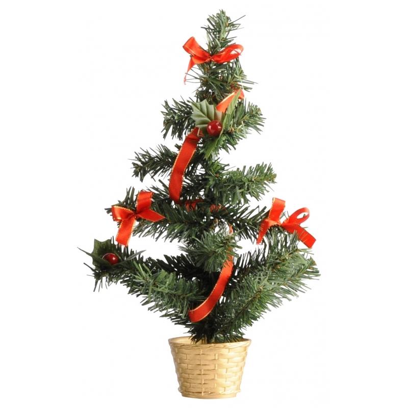 Image of Mini kerstboompje goud/rood 36 cm