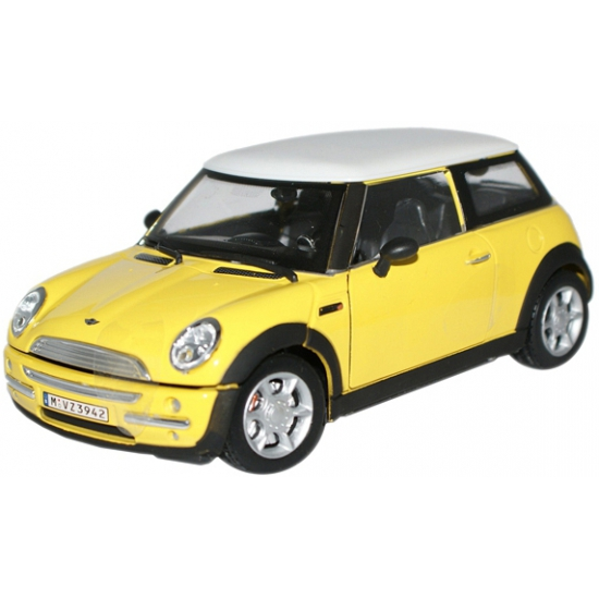Image of Modelauto Mini Cooper S geel 1:24