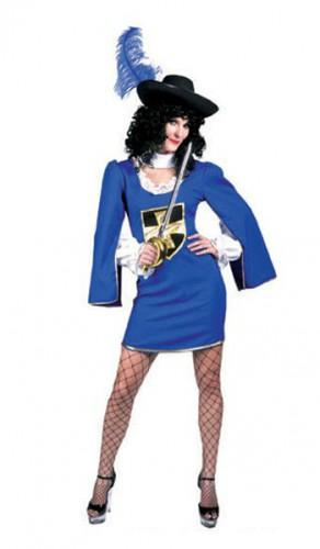 Musketiers kostuum zilver en blauw voor dames