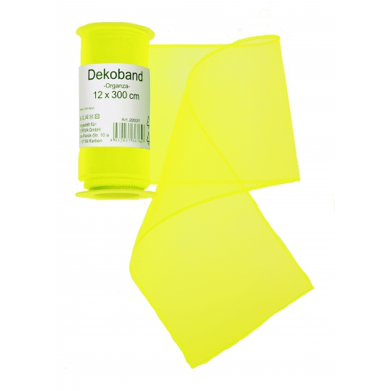 Image of Neon gele organza tule decoratie stof 12 x 300 cm