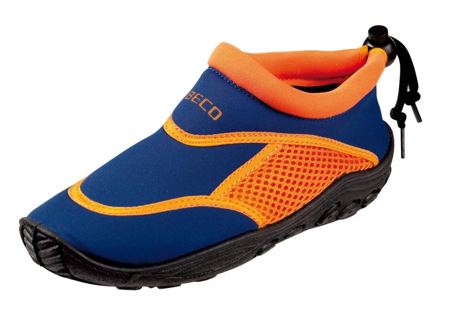Image of Neopreen blauw met oranje waterschoenen anti-slip