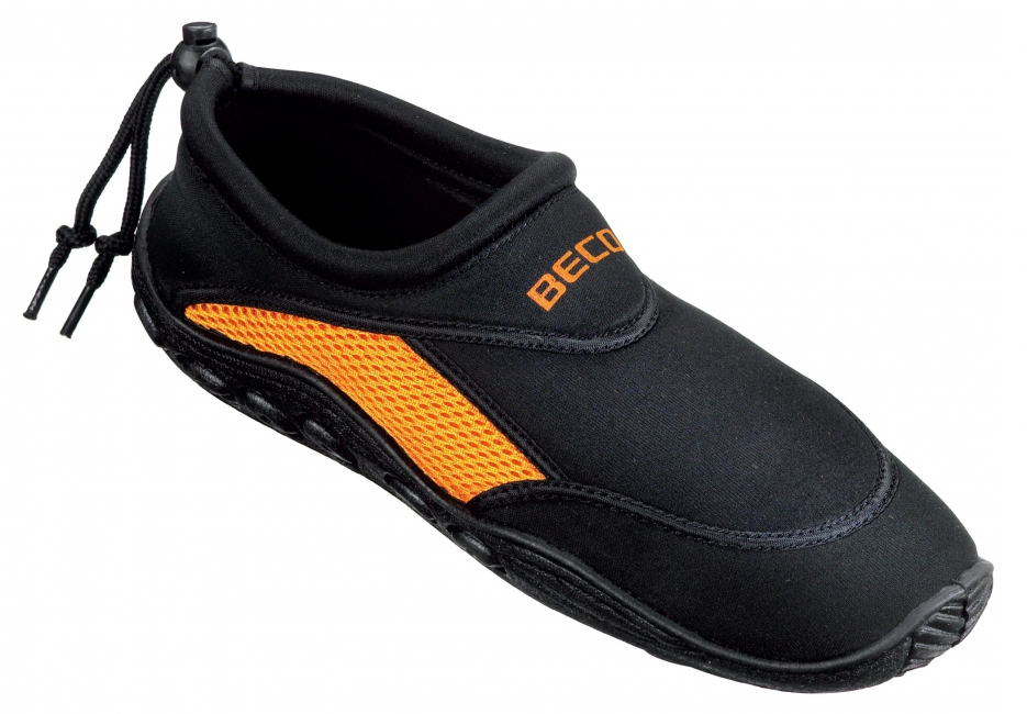Image of Neopreen waterschoenen zwart oranje met anti-slip