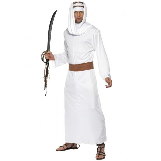 Kostuum in de stijl van lawrence of arabia, wit gewaad, hoofddoek en bruine riem.maat medium: ...