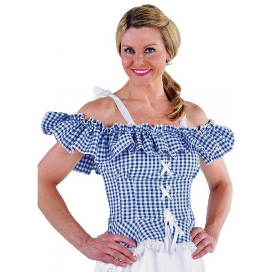 Image of Oktoberfest Tiroler blouse Carmen blauw geruit