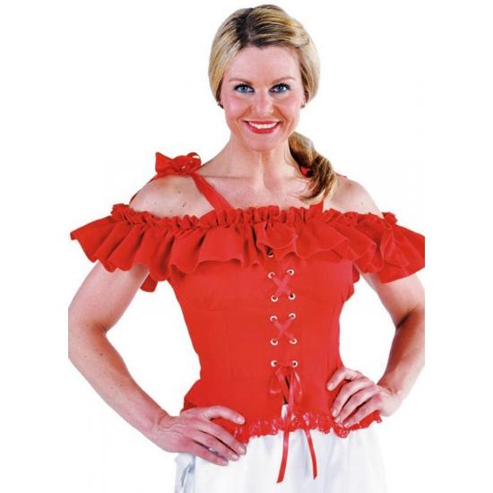 Image of Oktoberfest Tiroler blouse Carmen rood