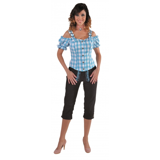 Image of Oktoberfest Tiroler blouse off shoulder blauw geruit