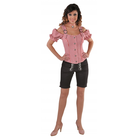Image of Oktoberfest Tiroler blouse off shoulder rood geruit