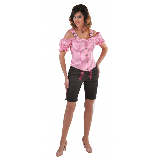 Image of Oktoberfest Tiroler blouse off shoulder roze geruit