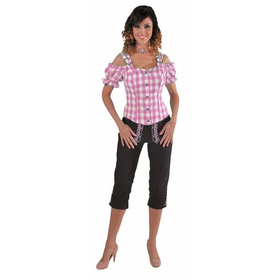 Image of Oktoberfest Tiroler blouse off shoulder roze grote ruit