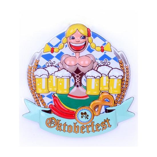 Image of Oktoberfest wandbord vrouw met bier