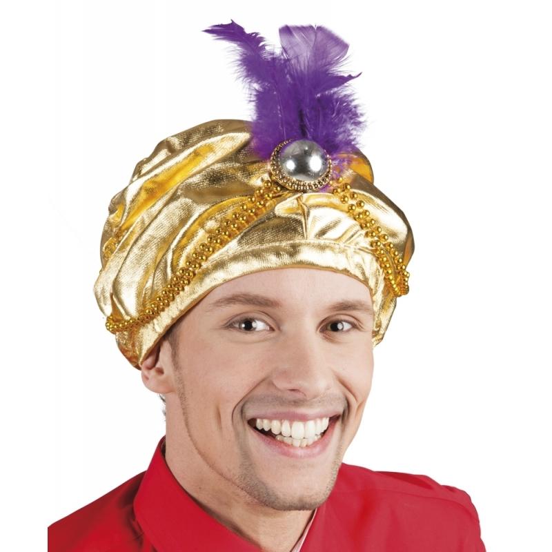 Image of Oosterse tulband hoed met veer