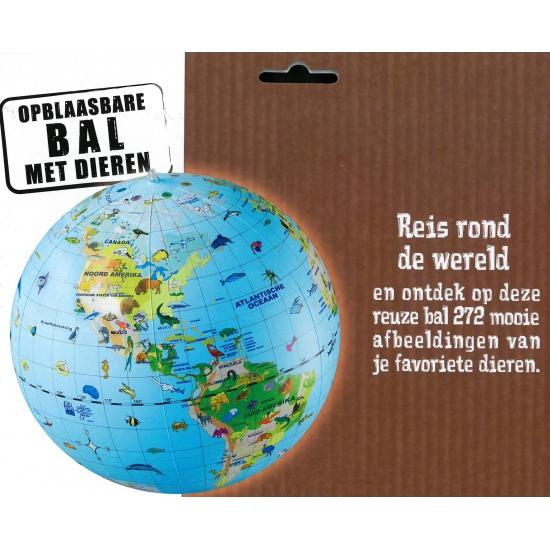 Image of Opblaas wereldbol dieren 30 cm