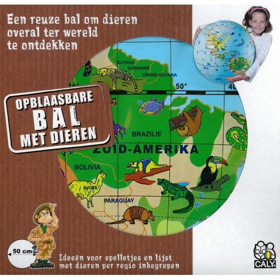 Image of Opblaas wereldbol dieren 50 cm