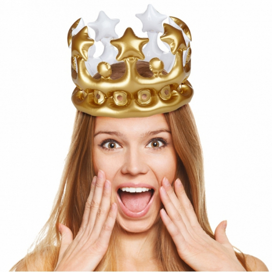 Opblaasbare kroon goud 23 cm
