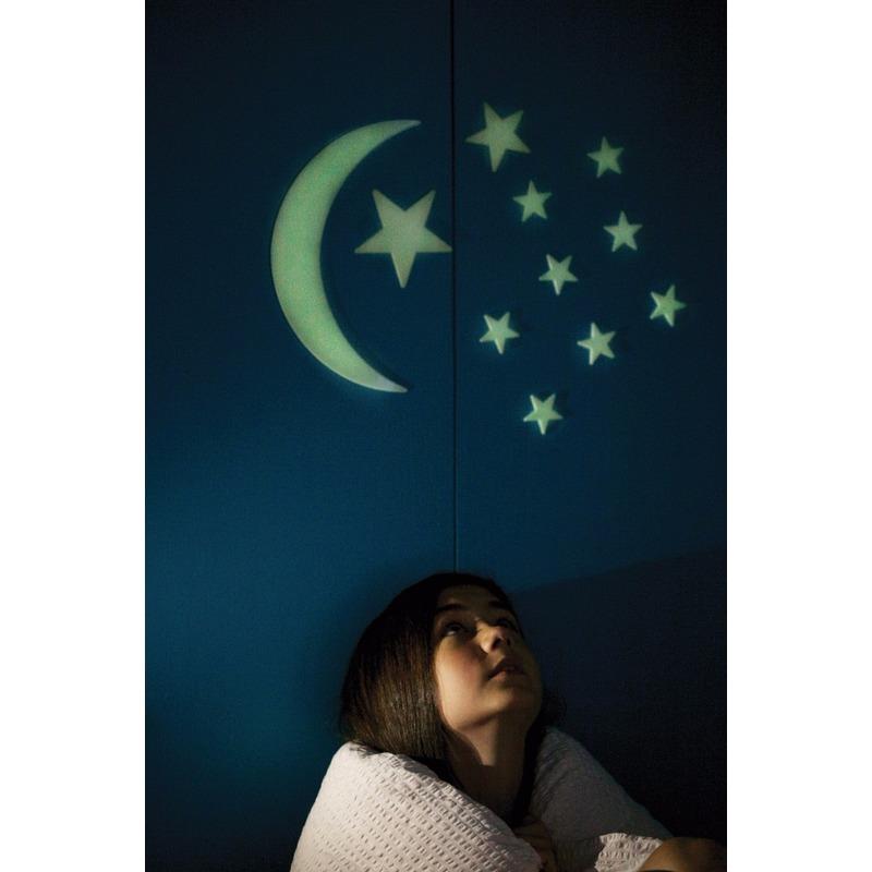 Image of Oplichtende maan en sterren setje