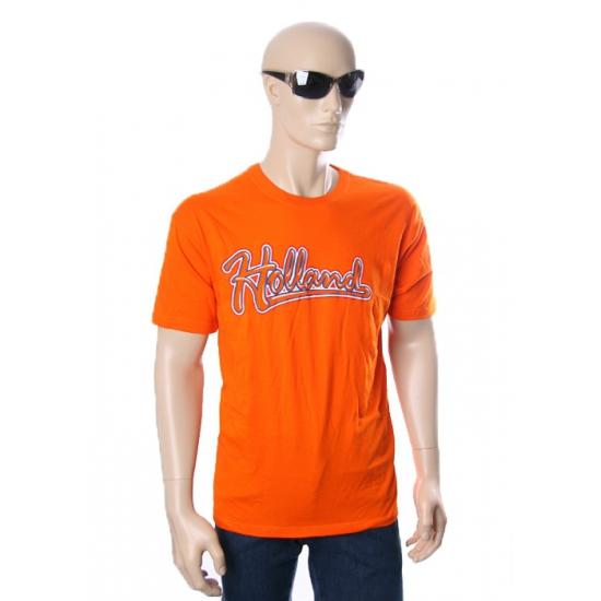 Oranje baseball t shirt met Holland tekst