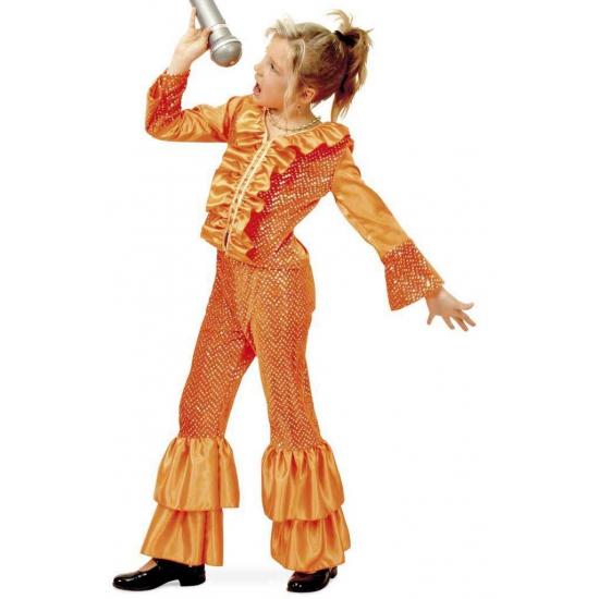 Oranje disco pak voor meisjes