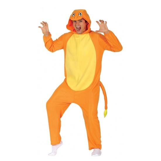 Image of Oranje draak onesie kostuum