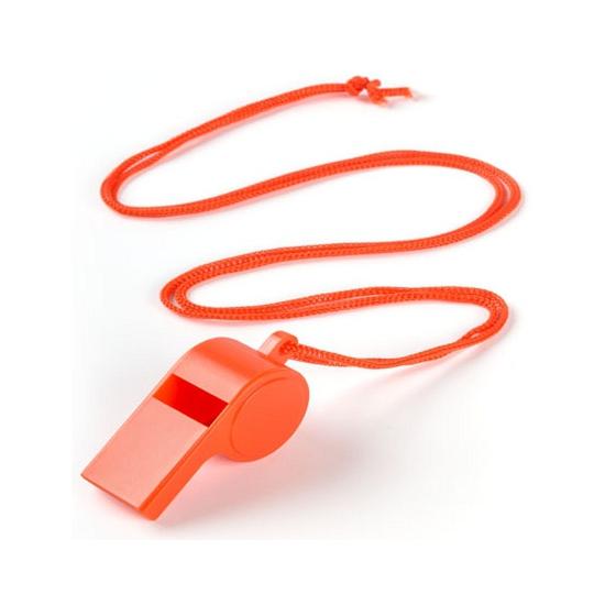 Oranje fluitje aan koord