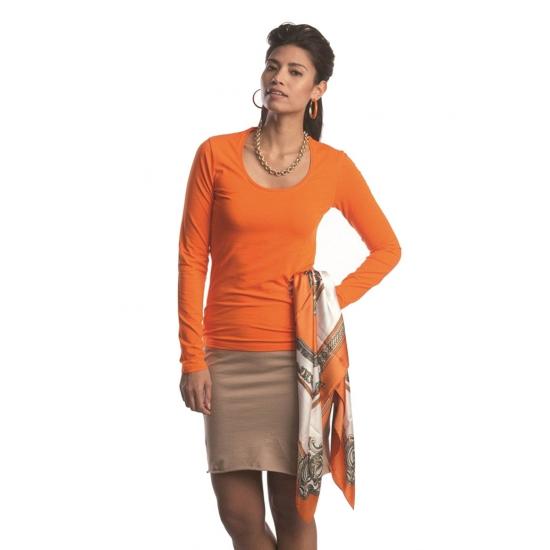Oranje gekleurd dames shirt met lange mouwen