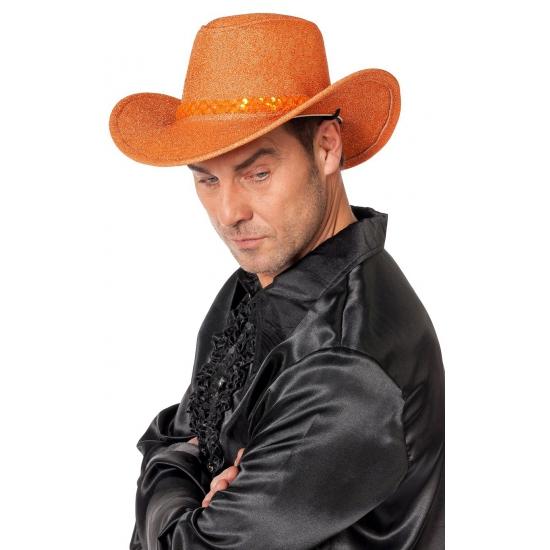 Oranje glitter cowboyhoed volwassenen