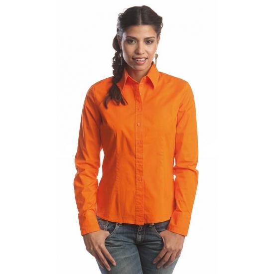 Image of Oranje overhemd met knopen voor dames